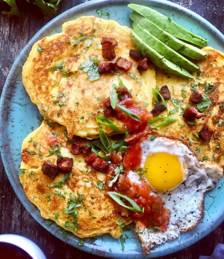 WeeklyMealPlan: Cornmeal Cheddar Bacon Pancakes with Fried Egg, Avo and Salsa from Diane Morrisey