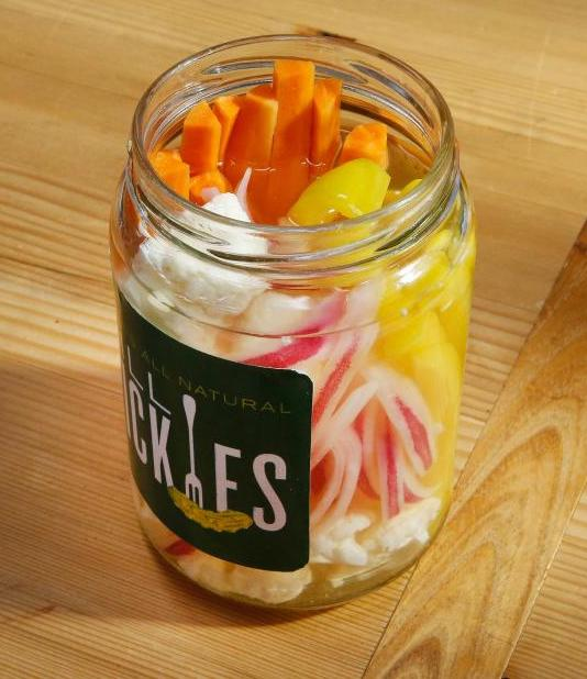 Quick pickled veggies using leftover pickle juice from Food Network