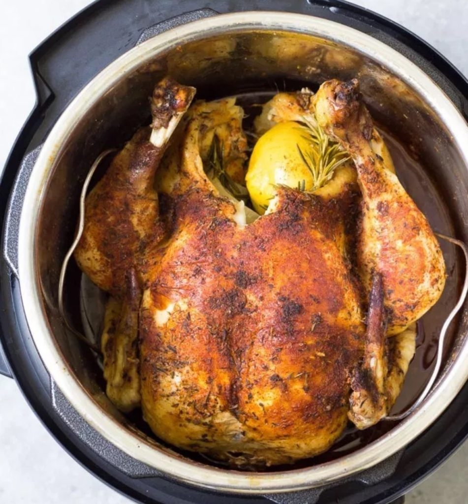 How to cook a whole chicken in an Instant Pot recipe via Kristine's Kitchen