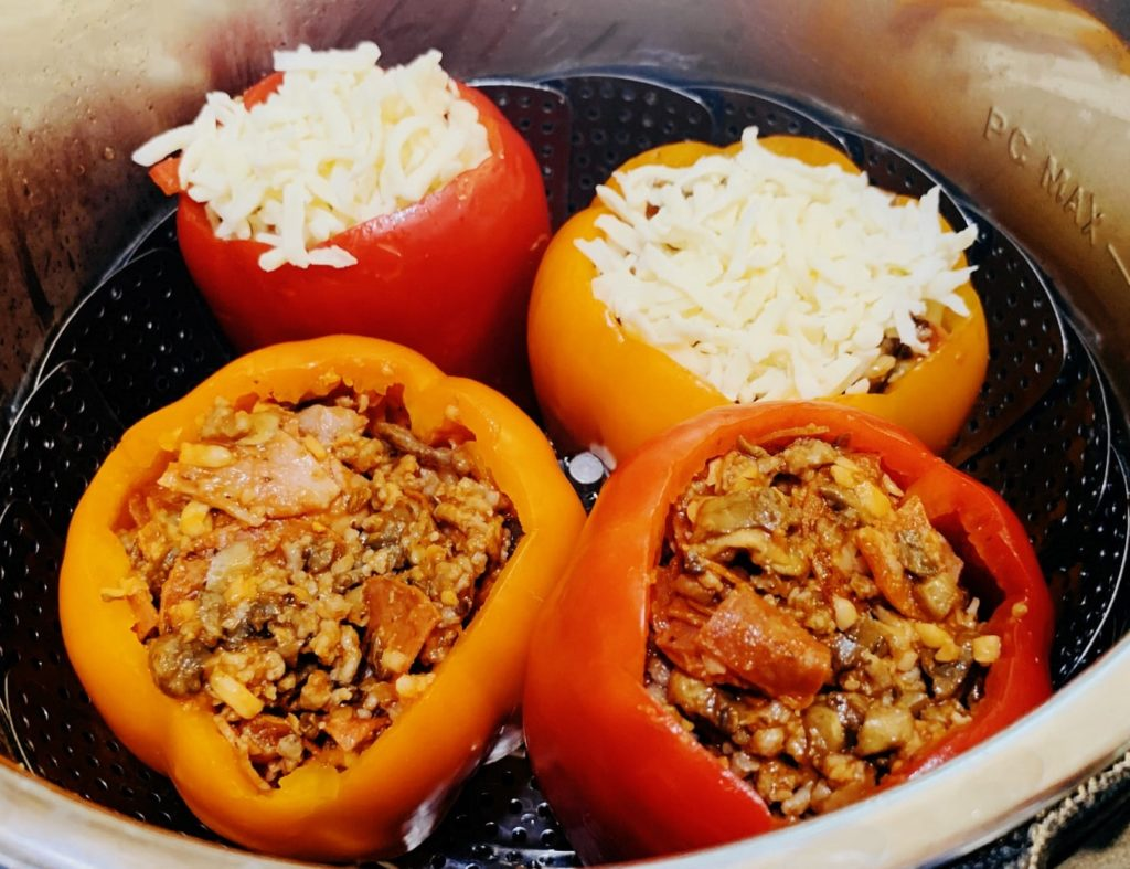 Instant Pot Low Carb Stuffed Peppers Meat Lovers Filling from Food Fitness Life Love.