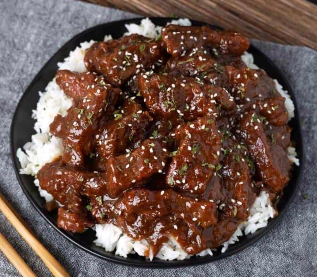 Instant Pot Mongolian Beef  recipe via Simply Happy Foodie