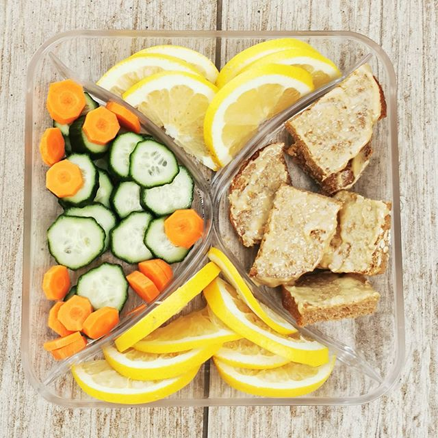 Snack tray idea for kids: This bento from FBDblog on Instagram features mini sandwich bites,  a great snack idea for the at-home school day