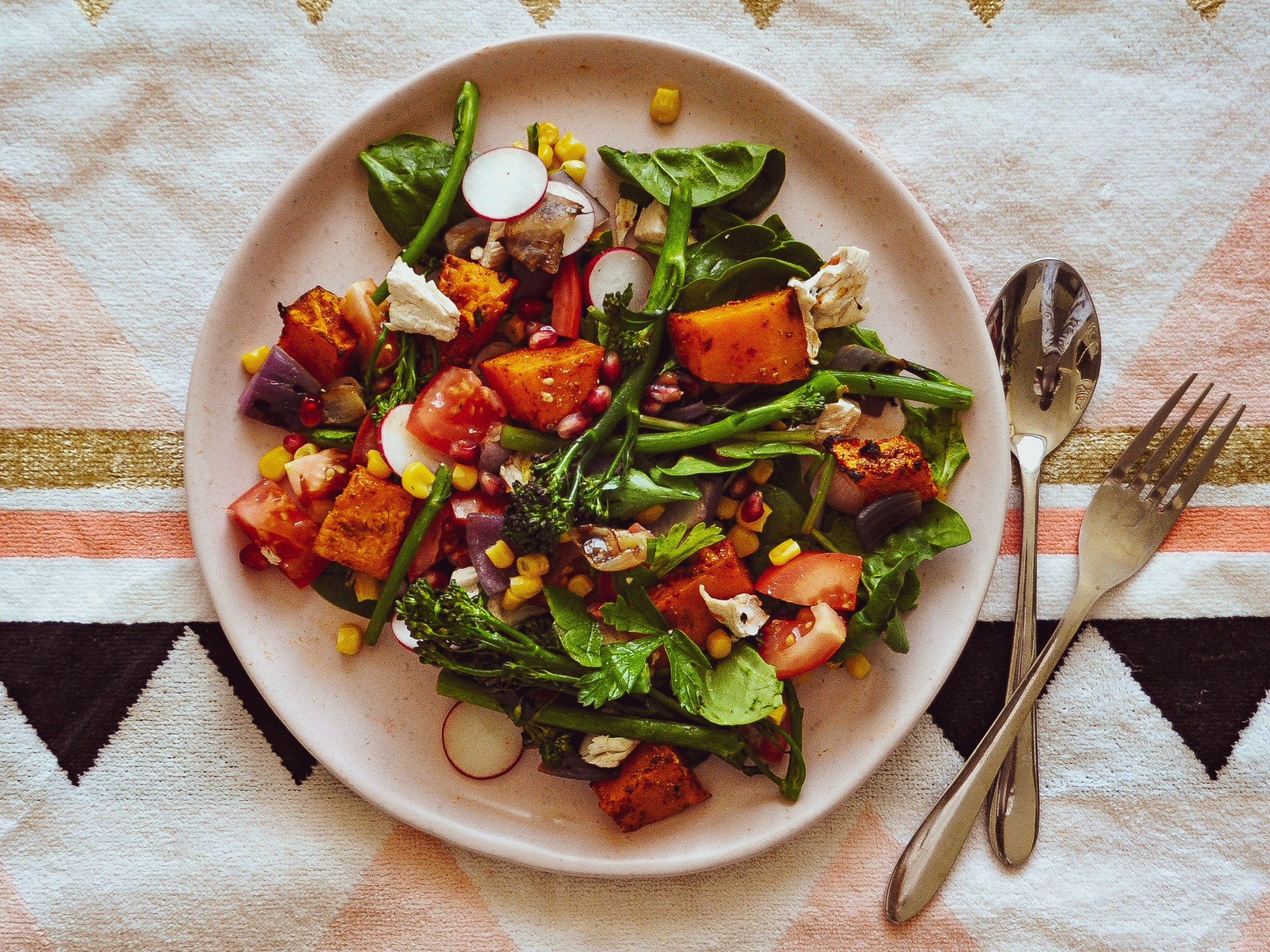 Creative pumpkin recipes for fall: Pumpkin, broccolini and pomegranate salad at Tsp.