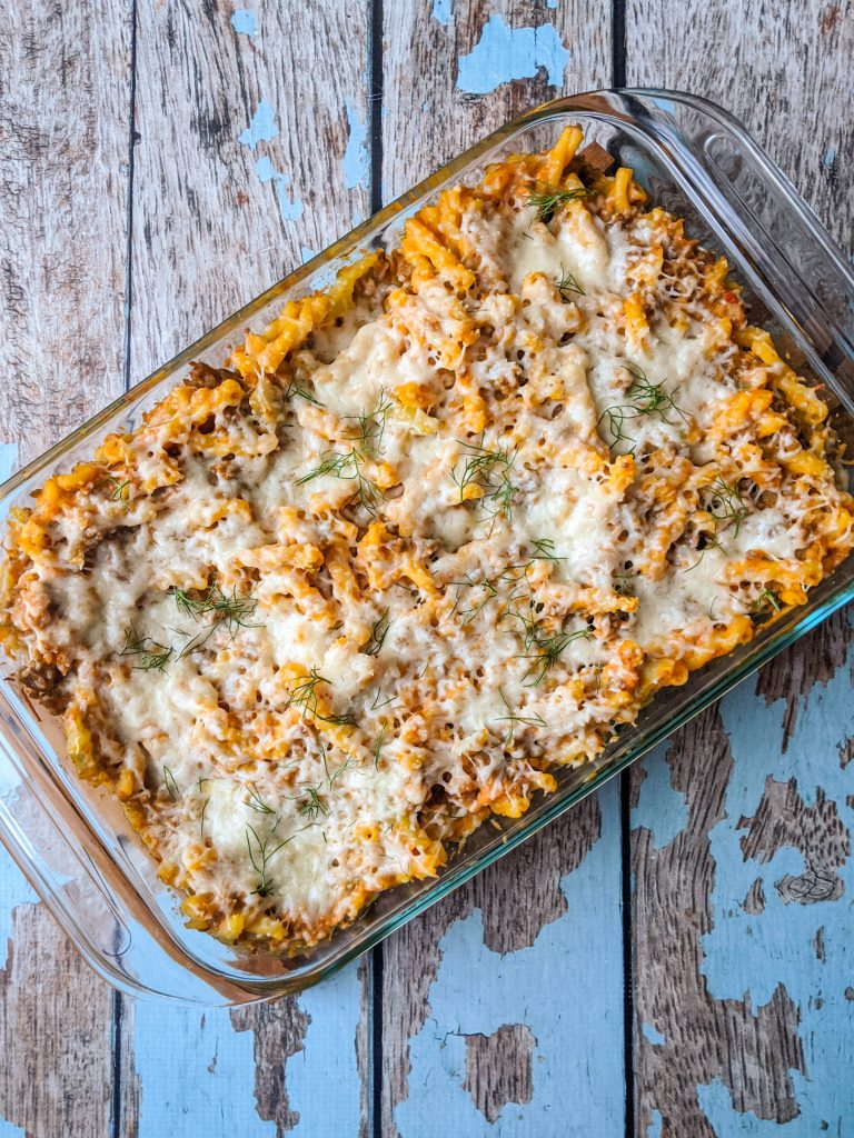 Creative pumpkin recipes for fall: Sausage and Pumpkin pasta bake at A Nerd Cooks