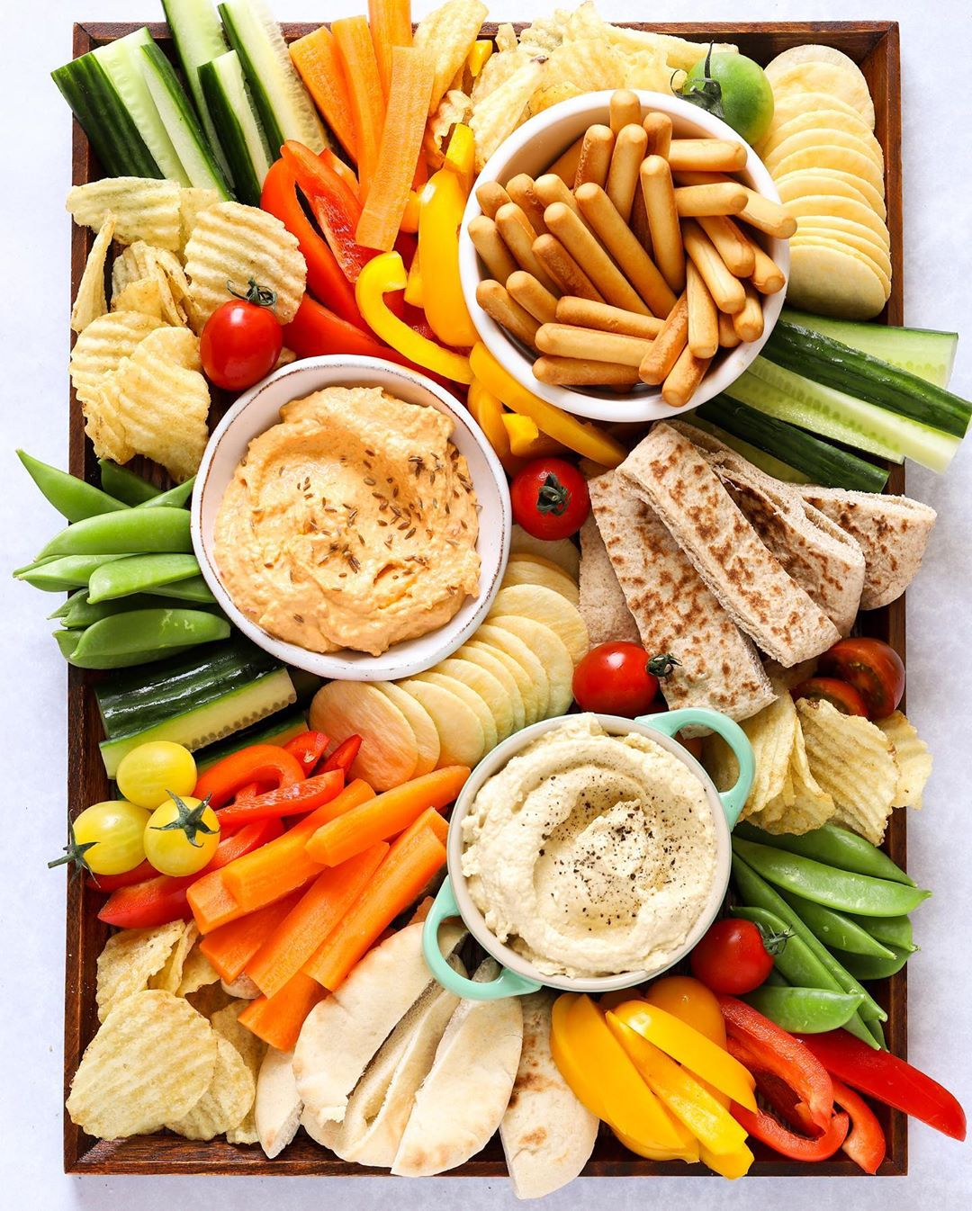 Snack tray ideas for kids to munch on independently all day: Veggie tray from Taming Twins