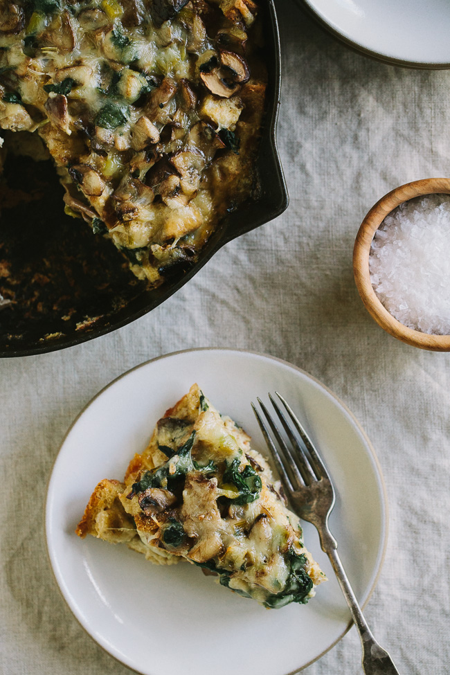 Weekly meal plan 225: Mushroom & Leek Strata at Gather and Dine for #MeatlessMonday