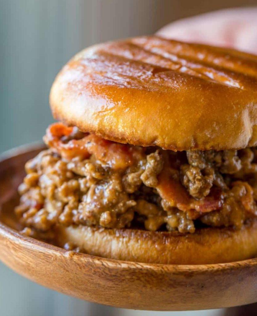 Bacon Cheeseburger Sloppy Joes via Dinner Then Dessert