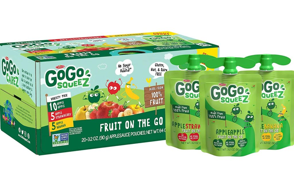 Buy bulk packs of GoGo Squeez applesauce and other snacks to save money on groceries