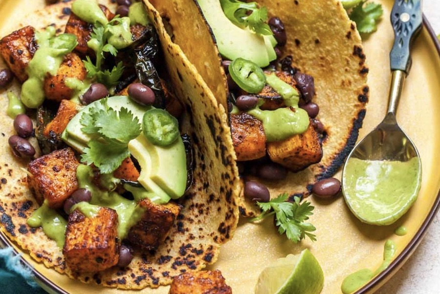 Chipotle roasted butternut squash tacos from dishing out health : Favorite fall family dinners|