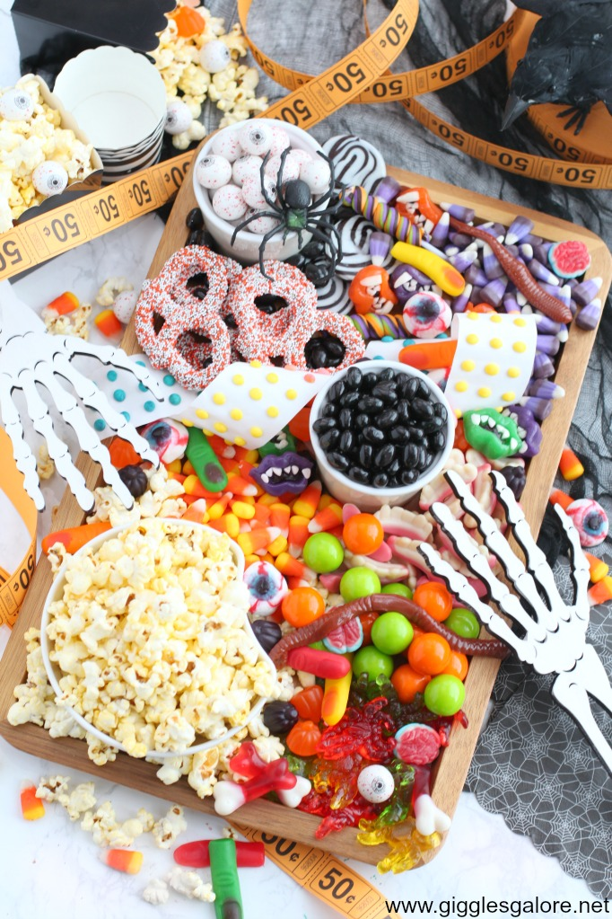 Halloween Movie Night Snack Tray idea from GIggles Galore