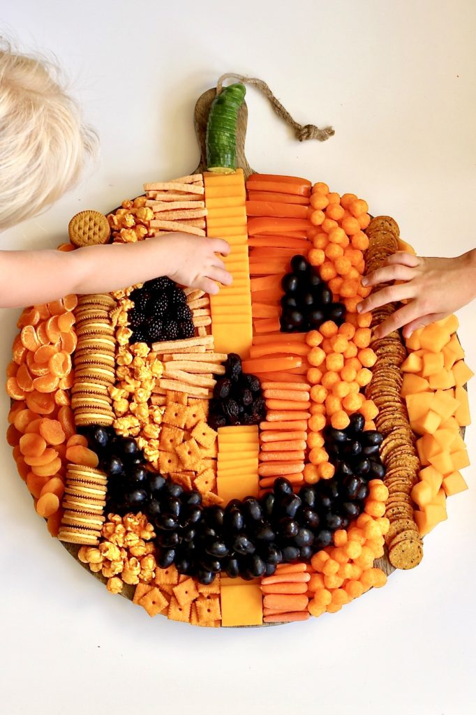 Halloween pumpkin snack tray from The Baker Mama is filled with healthy treats for kids
