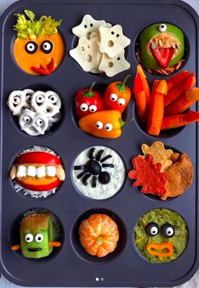 Muffin Tin Halloween Snack Tray from Ain't Too Proud To Meg