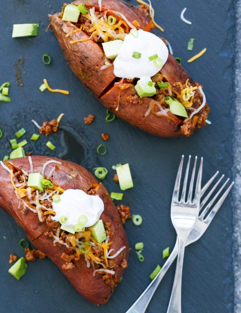 Taco Stuffed Sweet Potatoes from Love and Olive Oil