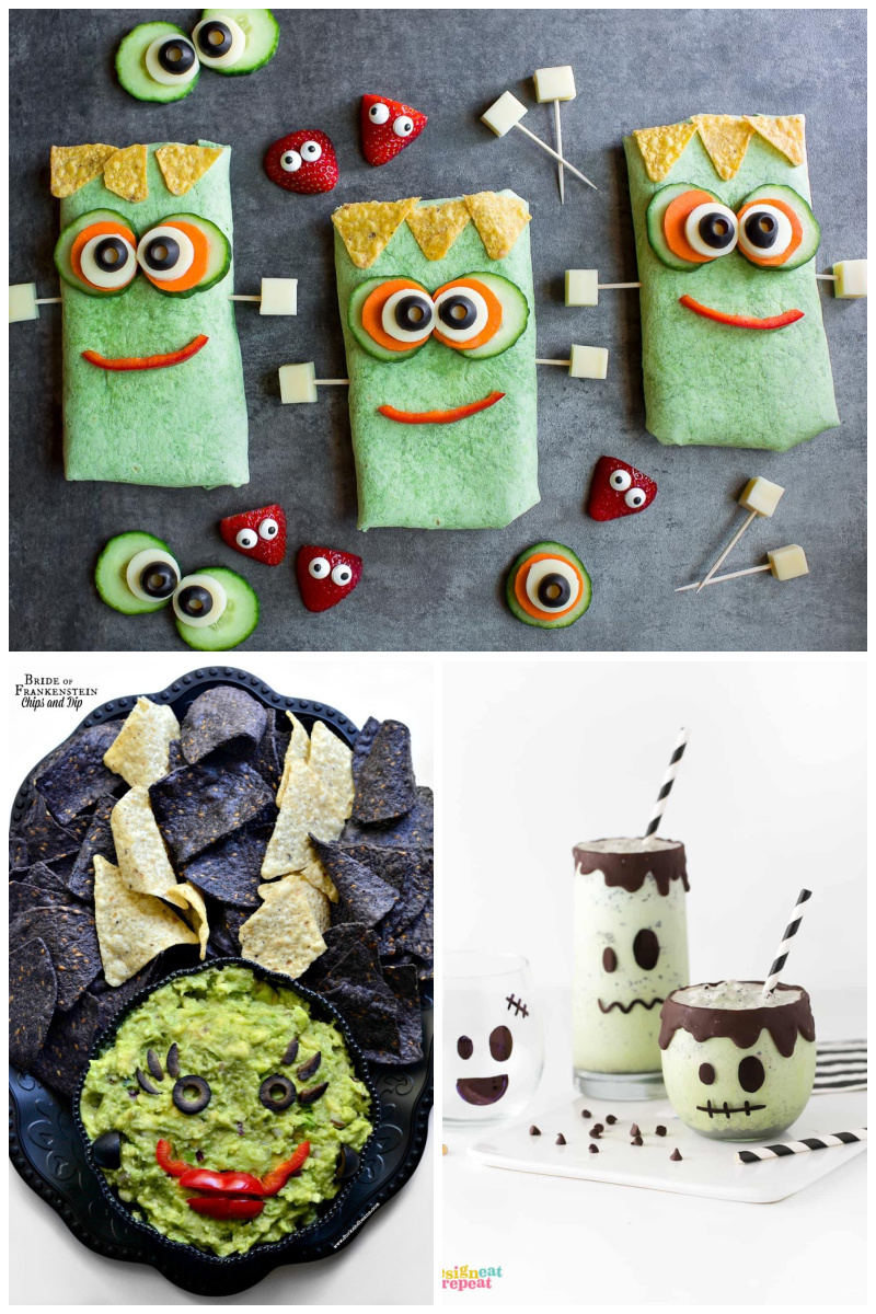 Frankenstein dinner ideas: Wrap sandwiches at Peas and Crayons, Chips & Dip at Fork and Beans, Milkshakes at Design Eat Repeat