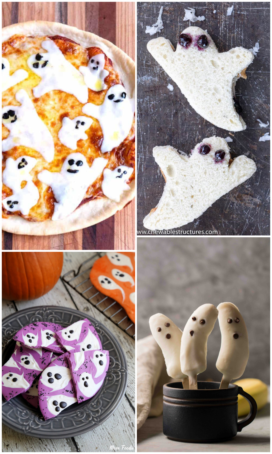 Ghost-themed Halloween dinner: Pizza at Pudge Factor, Sandwiches at Chewable Structures, Chocolate Bark at Mom Foodie and Bananas at Lifestyle of a Foodie