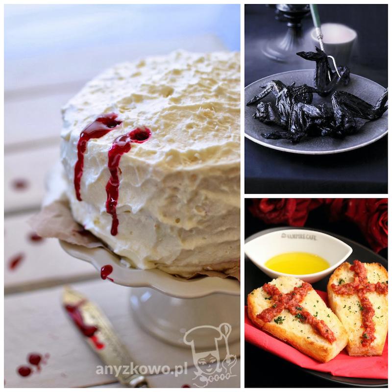 Vampire dinner recipes and ideas: Bat wings at Ricardo, garlic toast at Vampire Cafe, and vampire bite cake at Blog Anyzkowo