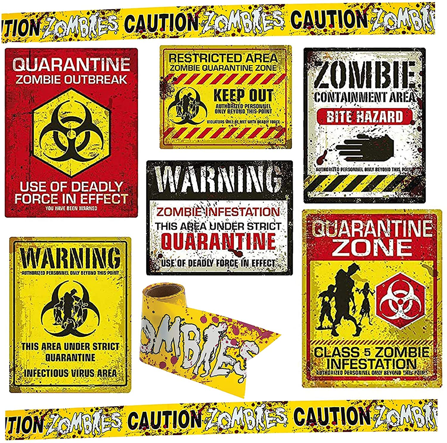 Zombie quarantine signs for a Halloween themed zombie dinner