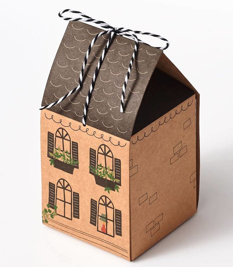 Gift cookies in these little kraft-paper houses from Paper Source