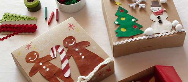 Let kids decorate kraft paper boxes in holiday themes to hold cookies