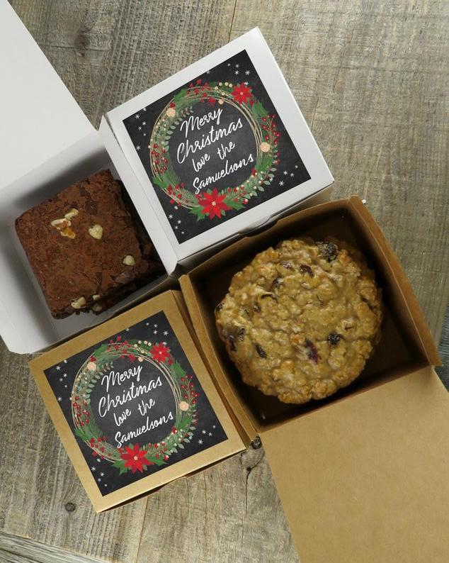 Give your favorite people homemade cookies with these personalized cookie boxes from Personalized Favor Co.