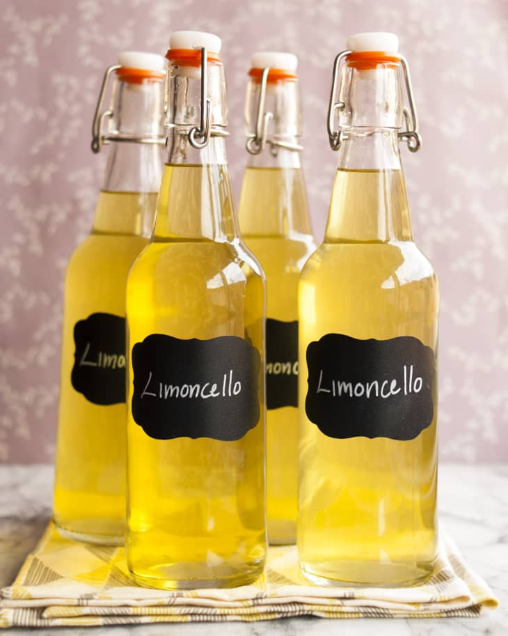 Homemade limoncello recipe from The Kitchn makes a pretty gift for the holidays