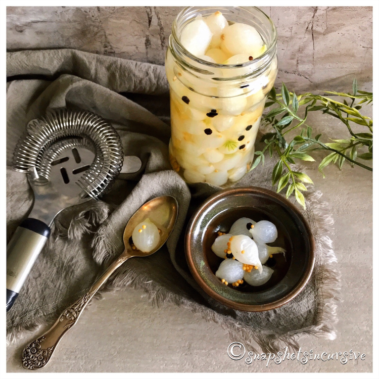 Homemade pickled onions from Snapshots in Cursive make a great holiday gift
