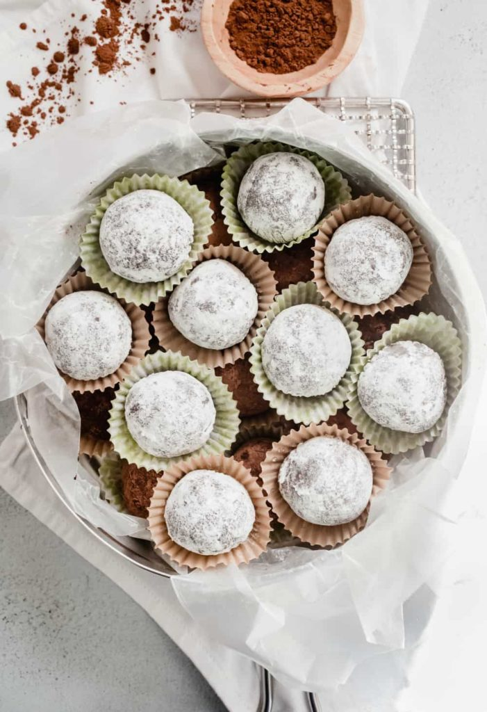 Make-ahead rum balls from My Baking Addiction for gifts or to enjoy at the holidays