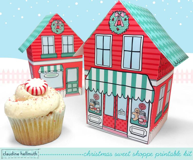 Send homemade Christmas cookies in these cute printable holiday cookie boxes from Claudine Hellmuth
