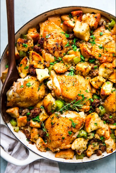 Chicken and stuffing casserole from The Modern Proper for a smaller Thanksgiving meal