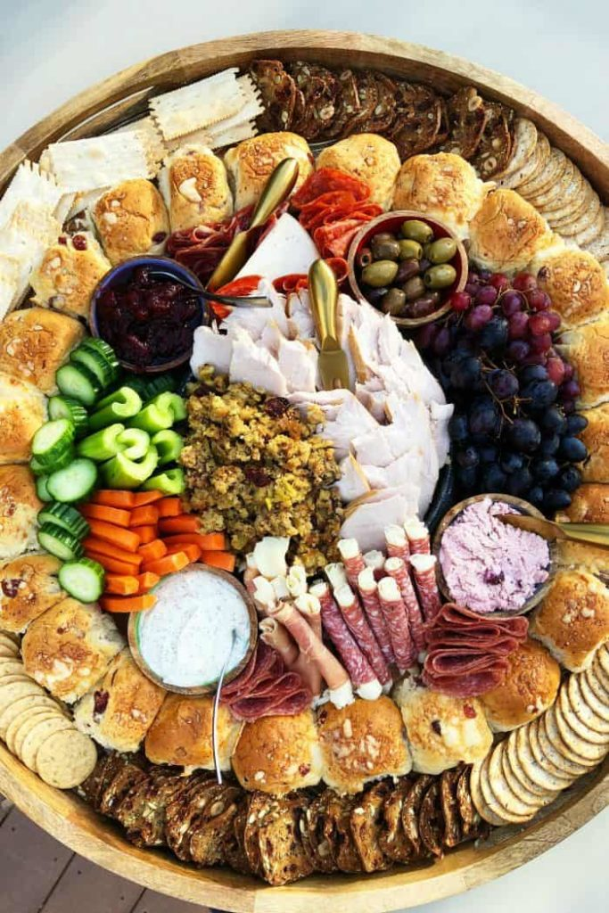 This Thanksgiving charcuterie board from Reluctant Entertainer is a great meal idea for a smaller Thanksgiving dinner