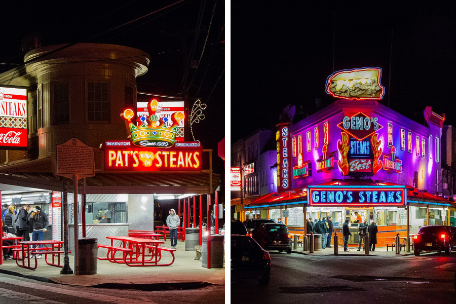Authentic Philly cheesesteak recipes from Geno's and Pat's. (Hey, make both then fight about it.)