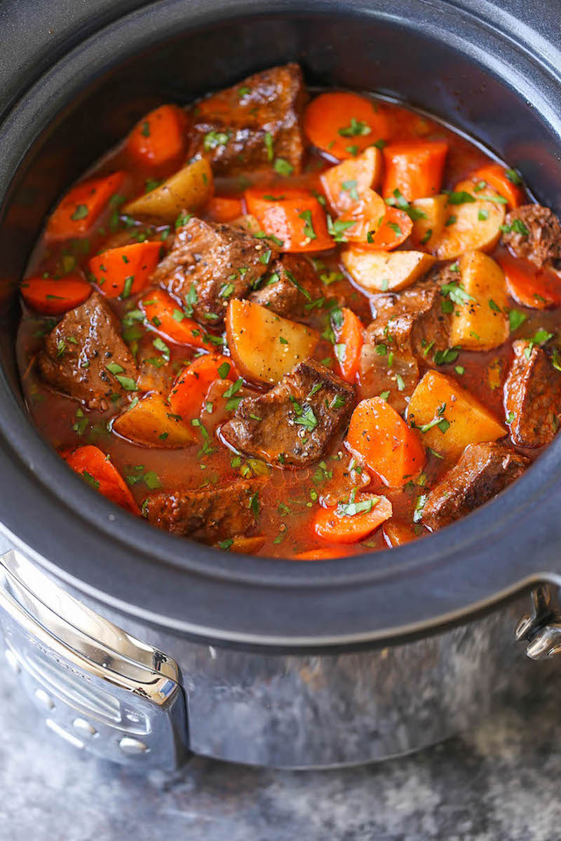 Budget slow cooker dinners under $10: Beef Stew at Damn Delicious
