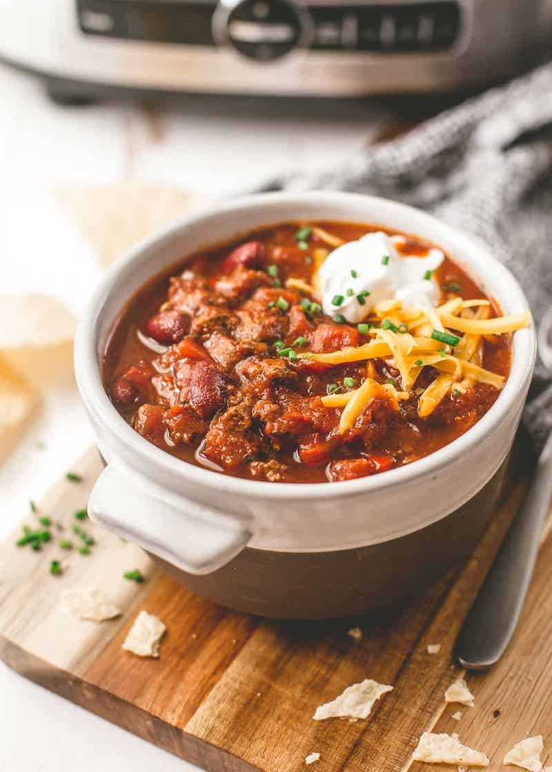 Budget slow cooker dinners under $10: Beef Chili at Inquiring Chef