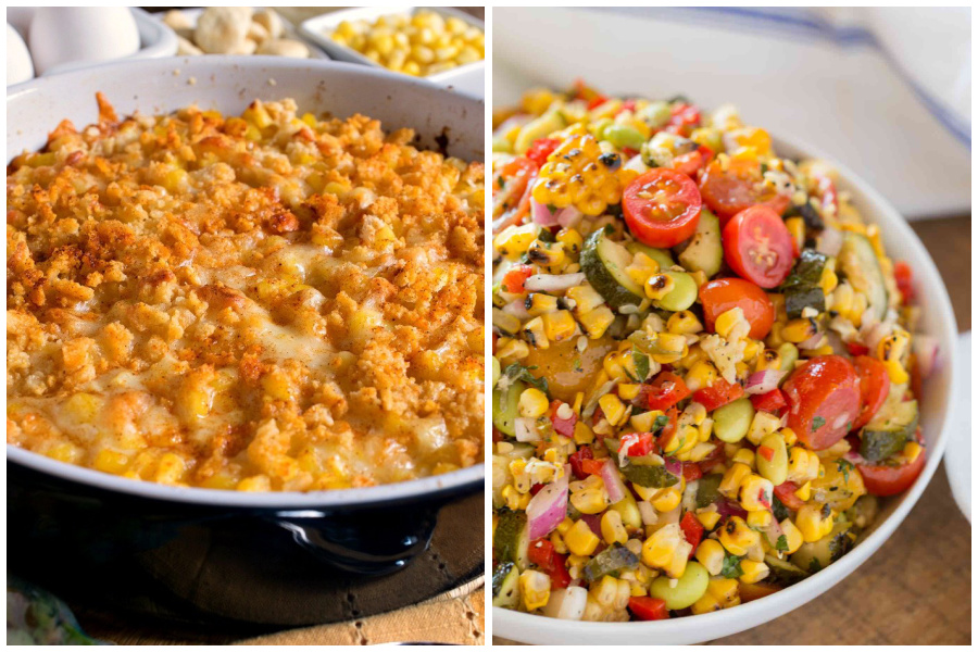 Sidesgiving recipes: Corn Pudding at A Family Feast; Succotash at Dinner then Dessert