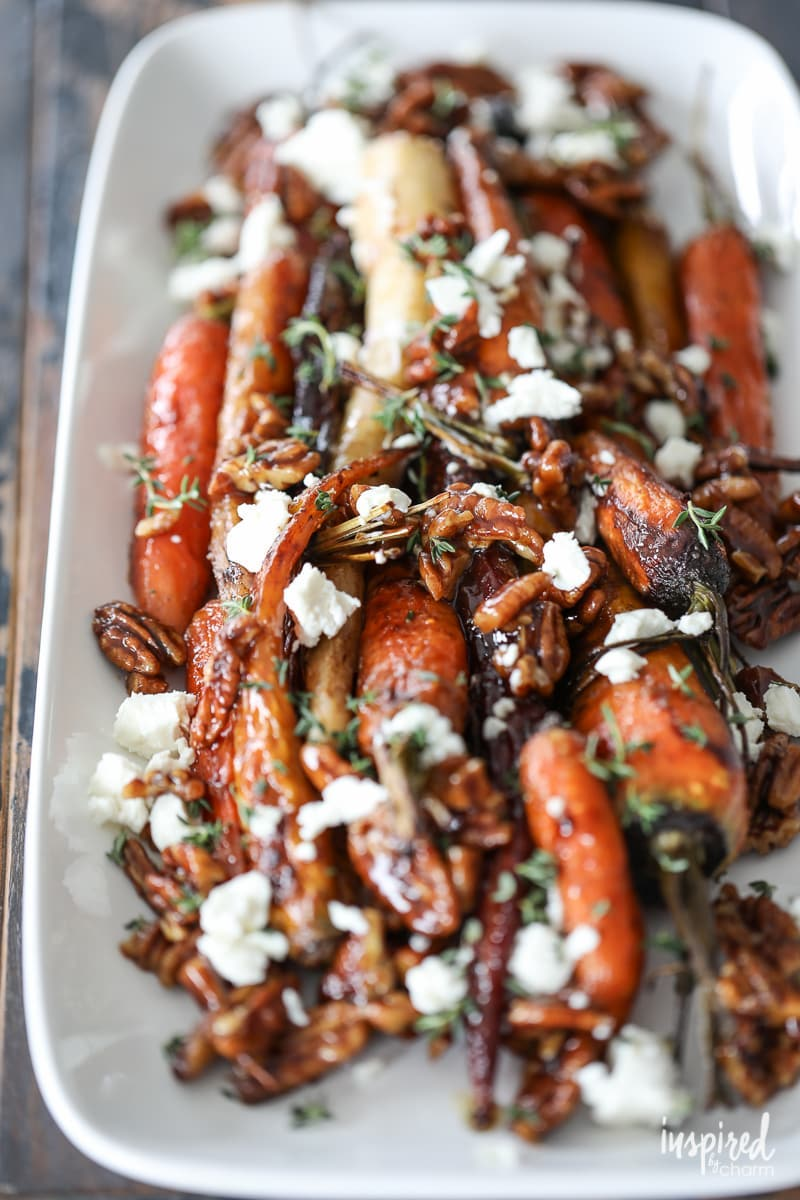 Sidesgiving recipes: Roasted carrots with pecans and goat cheese at Inspired by Charm