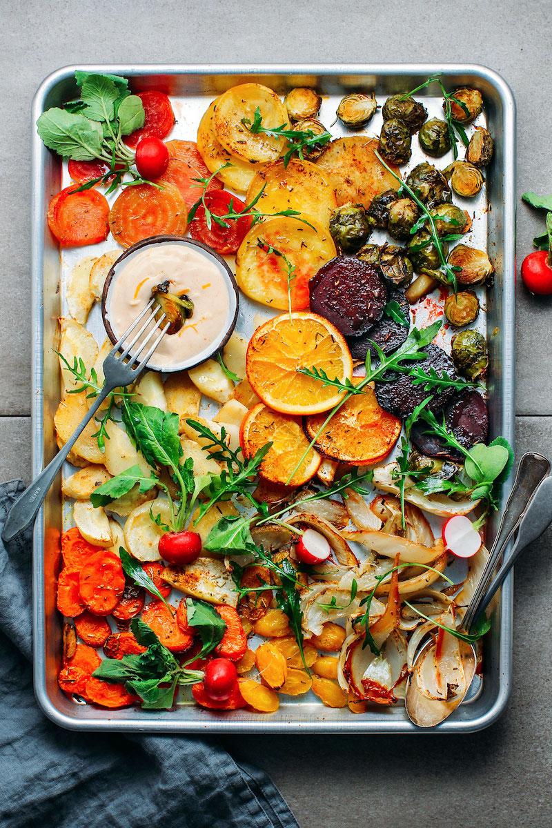 Sidesgiving recipes: Sheet pan veggies at Full of Plants