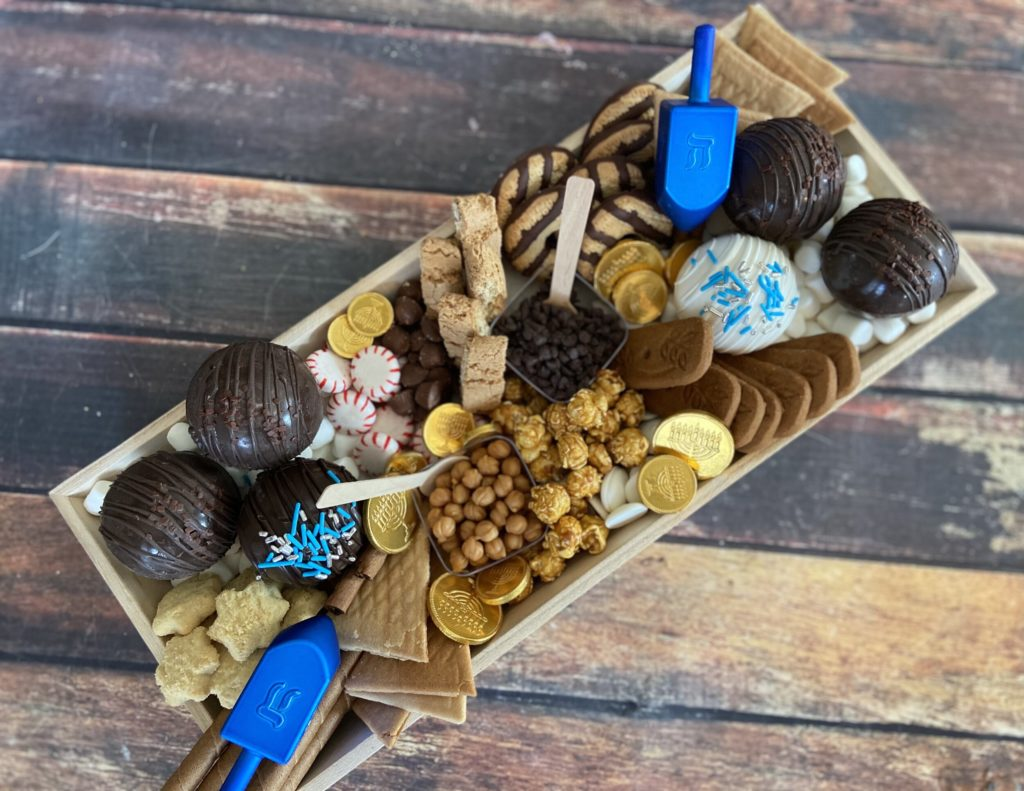Order your own Hanukkah hot cocoa bomb charcuterie board from Buttercream and Sprinkles