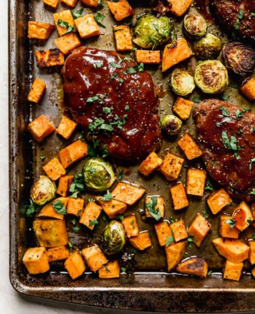 Sheetpan Mini Meatloaf with Vegetables from RealFoodRDs