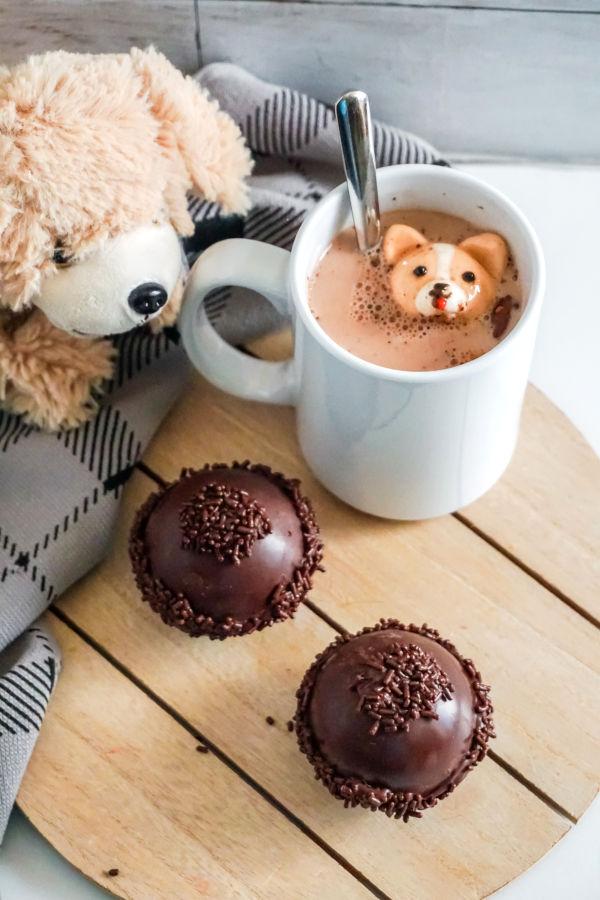 4 DIY hot chocolate bombs recipes |  Corgi hot chocolate bombs from Soap Deli News
