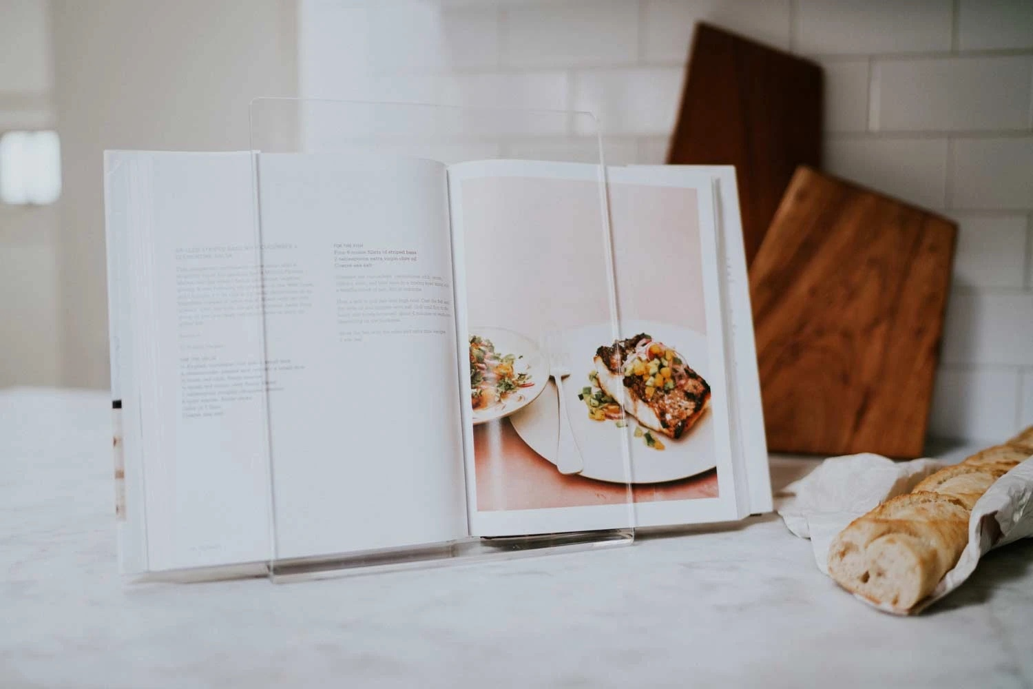 Gift ideas for home cooks: A 100% recycled Italian lucite cookbook holder from Newly