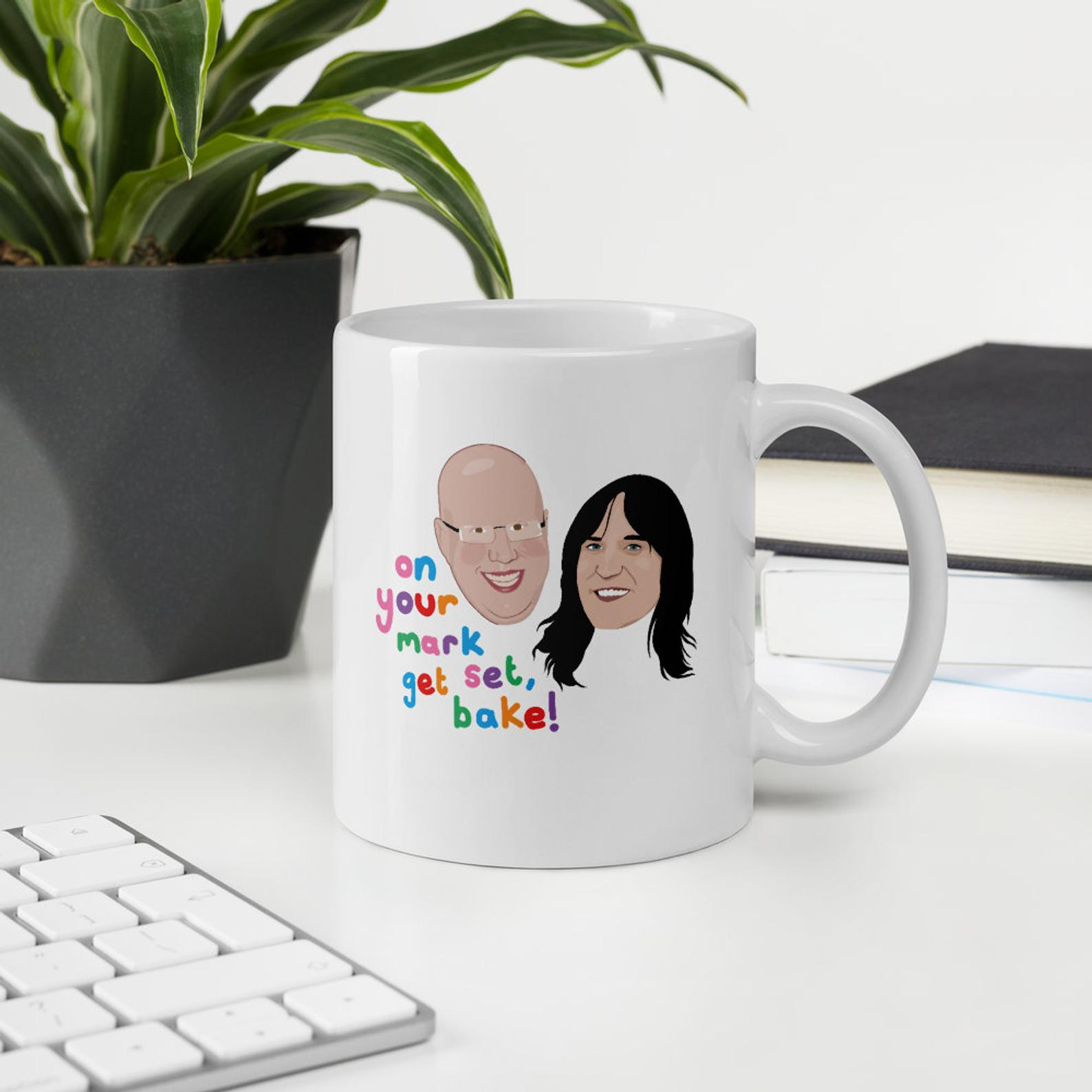 Gift ideas for fans of The Great British Baking Show: A coffee mug with Matt and Noel from Pony Chops Design.