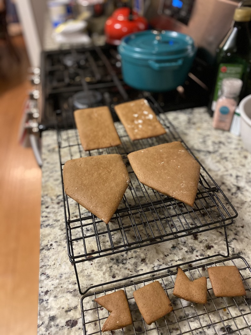 Tips for making a homemade gingerbread house from scratch: Be sure to test how the pieces fit together *before* you get out the royal icing. | Photo © Kate Etue for Cool Mom Eats