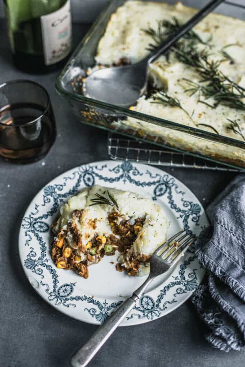 A weekly meal plan of comfort foods:  Lentil Cottage Pie at Biting Into Life