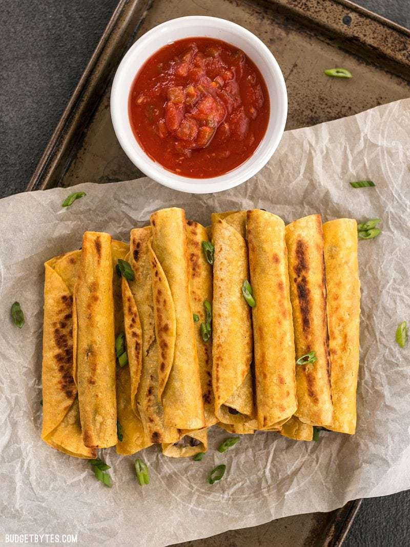 Vegetarian meals for families beyond salads: Creamy black bean taquitos at Budget Bytes