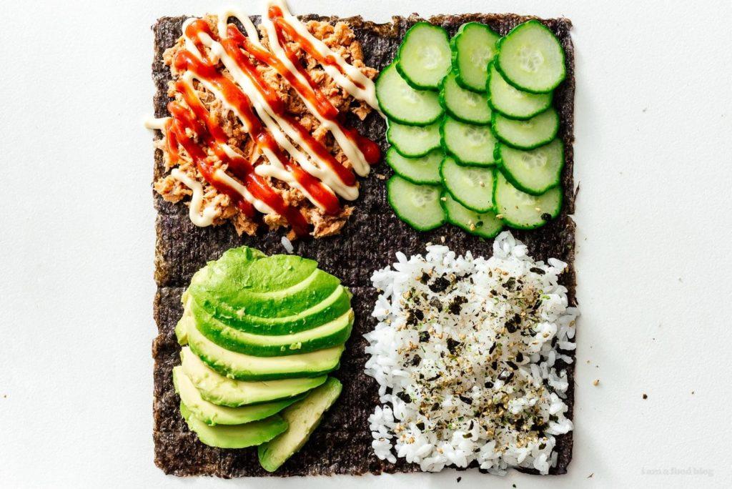 Use nori to make a sushi folded TikTok sandwich from I Am A Food Blog