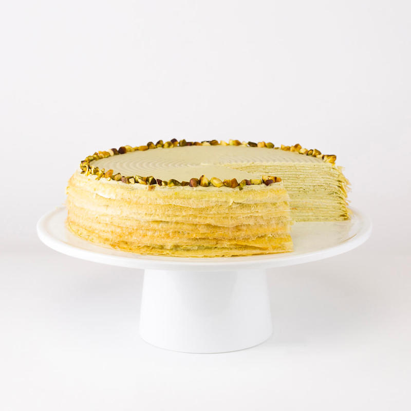 Romantic Valentine's food gifts: A pistachio mille cake at Lady M