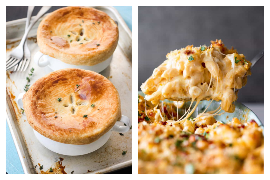 Weekly meal plan: A week of easy comfort foods! | Here: Veggie Pot Pie from Toaster Oven Love and Lobster Mac & Cheese from Grandbaby Cakes