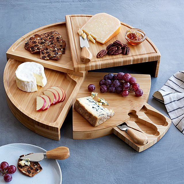 Modular charcuterie board in sections can be used in so many ways!