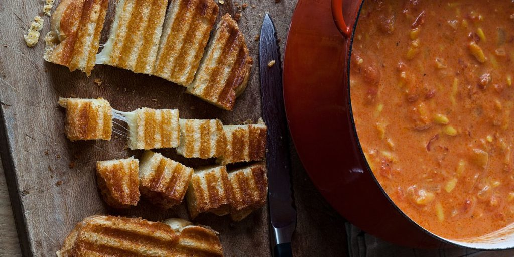 This easy tomato soup from Barefoot Contessa with grilled cheese croutons is a family favorite, and if you don't have a panini press, use a waffle iron!