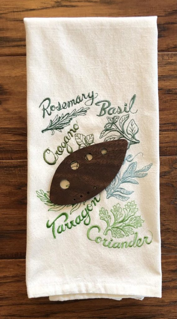 MSM Sewing Studio's embroidered tea towel and herb stripped make a thoughtful gift under $25 for Mother's Day